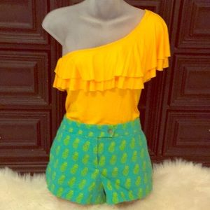 Green Jcrew Shorts with Yellow Pineapples. Size 4